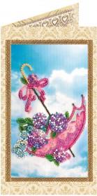 Набор - открытка для вышивки бисером Цветы в зонтике
