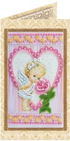 Набор - открытка для вышивки бисером Ангелочек и роза