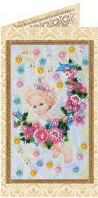 Набор - открытка для вышивки бисером Подарок ангелочка