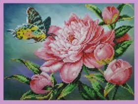 Набор для вышивки бисером Пион с бабочкой