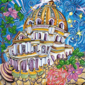 Схема вышивки бисером на холсте Волшебны город
