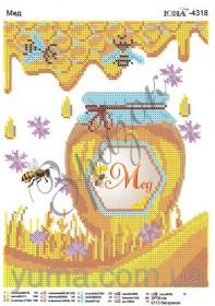 Схема вышивки бисером на атласе Мёд