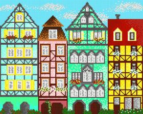 Схема вышивки бисером на атласе Европейские домики 1