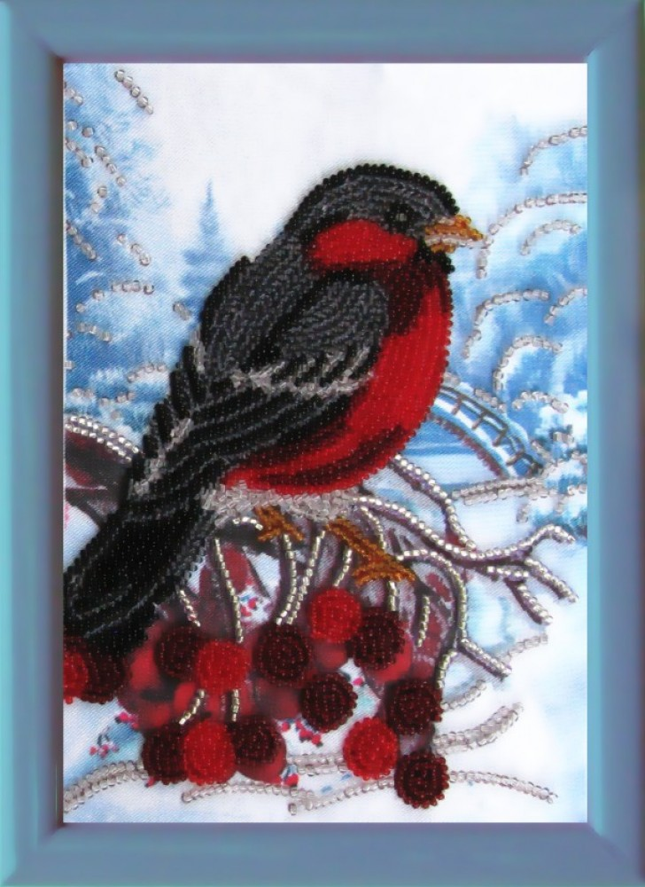 Вышивка бисером снегири абрис арт