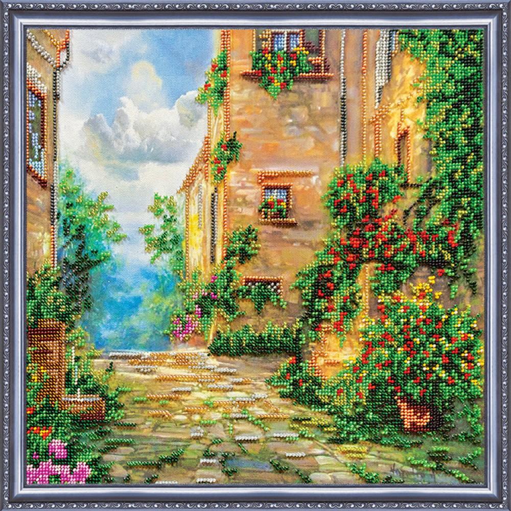 Вышивка цветочная улица