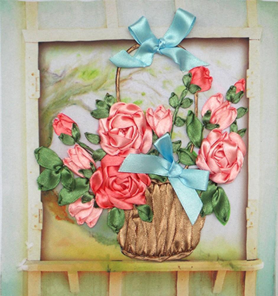 схема вышивки лентами роз