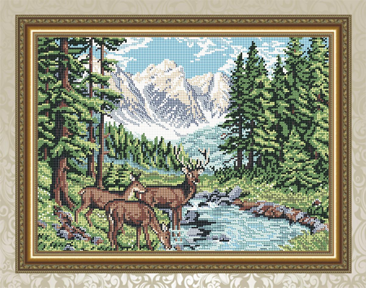 вышитая подушка схема олени