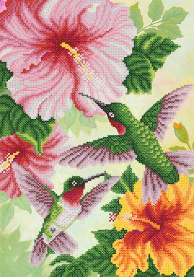 Схема вышивки колибри на цветке