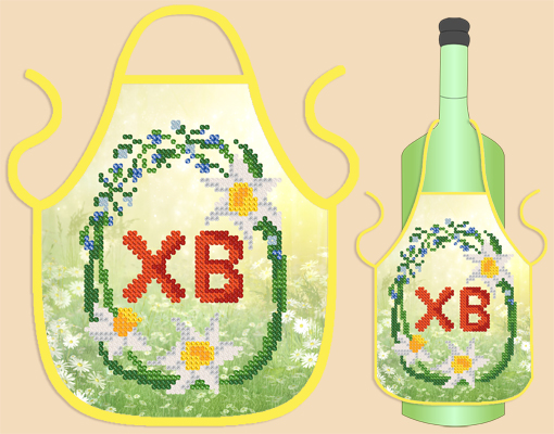 Схема вышивки фартук для бутылки