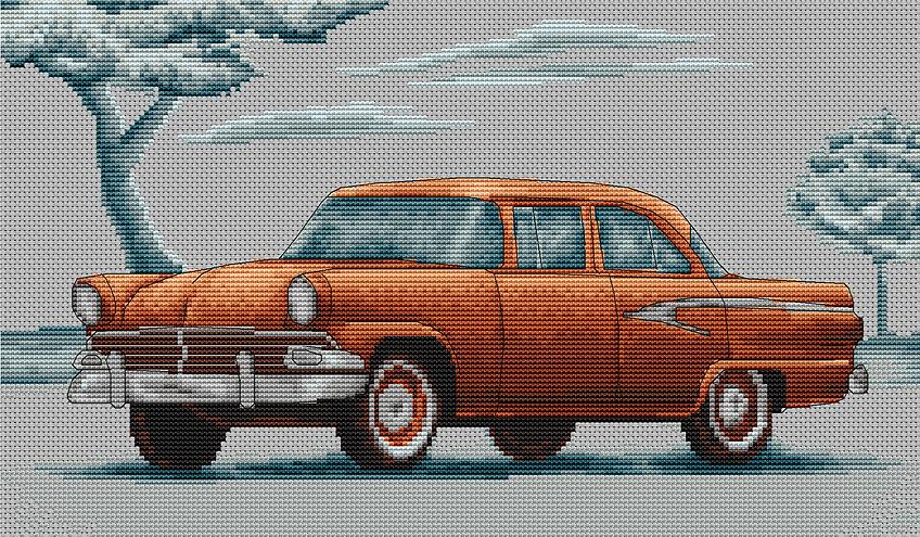 Схема вышивки ретро автомобиль