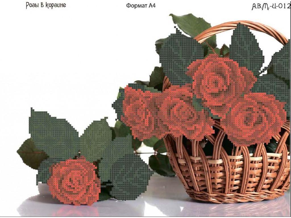 вышивка крестом схема розы в корзине