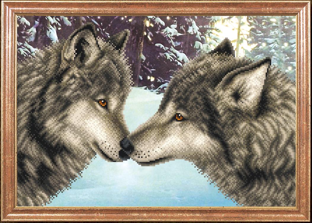 схема вышивки крестом белые волки