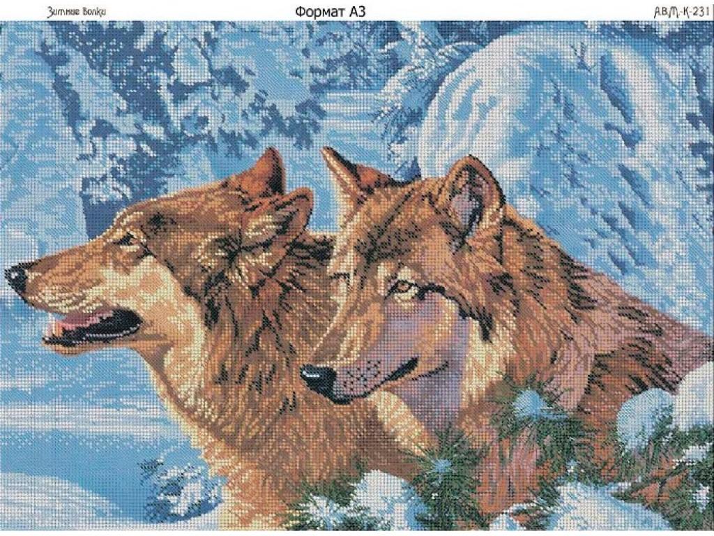 схема вышивки с двумя волками