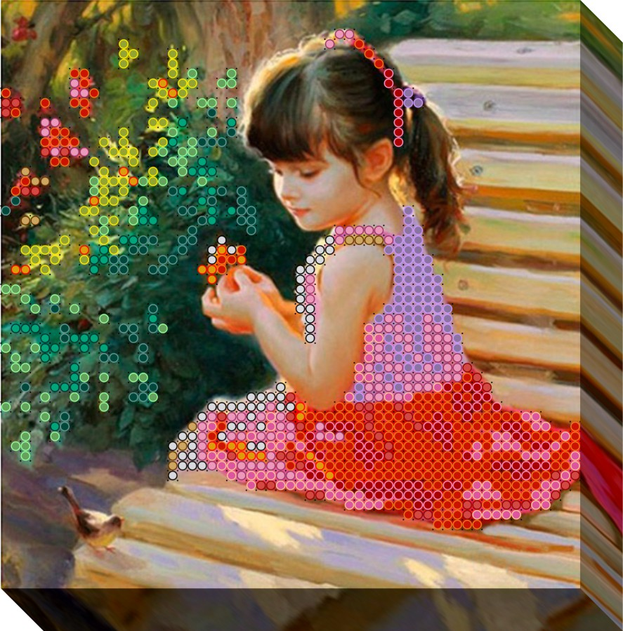 вышивка крестом девочка с гусем схема