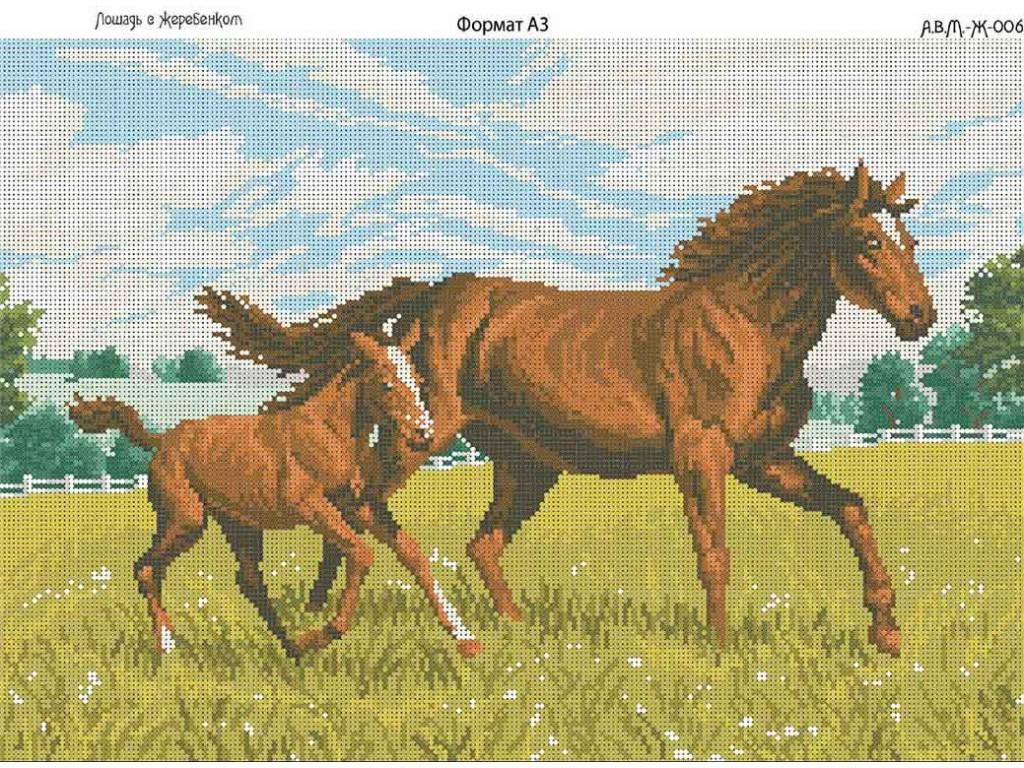 схема для вышивки бісером лошади