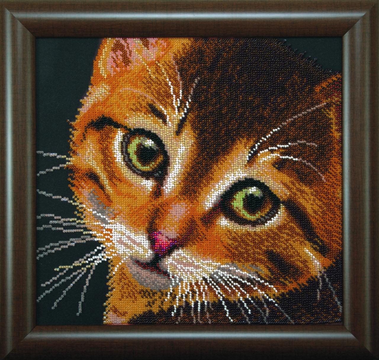 Вышивка рыжий кот бисером