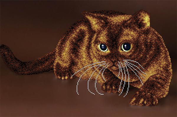 Вышивка бисером кота