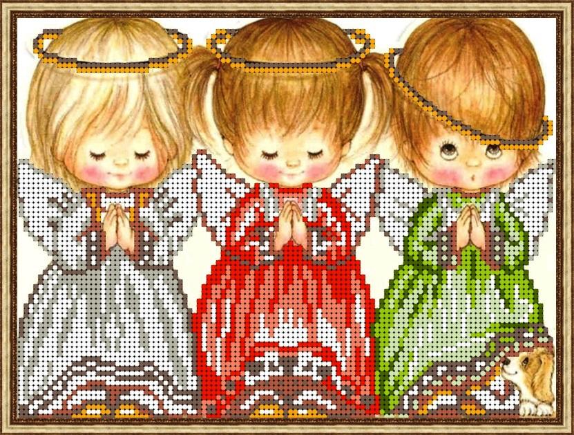 Схема для вышивки с тремя ангелочками 755