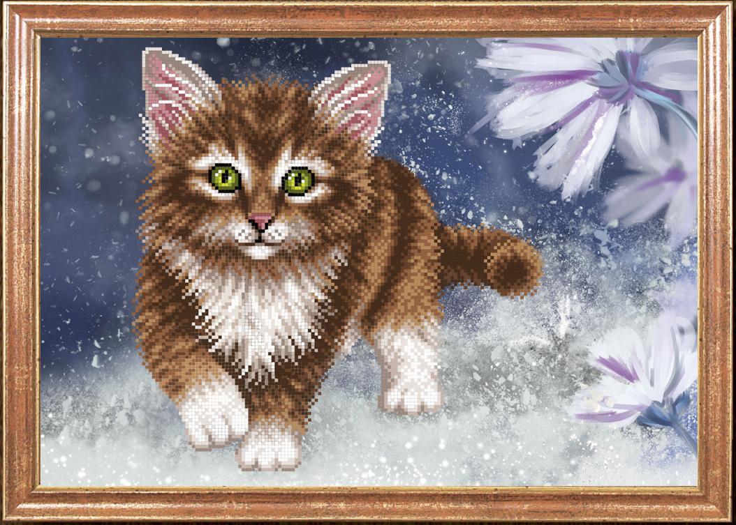 Вышивка бисером кота 24