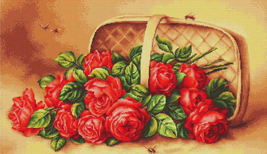 Вышивка крестом розы в корзине алиса 6