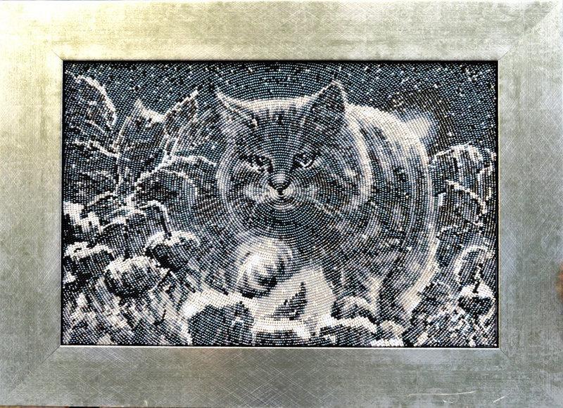 Вышивки бисером лунный кот