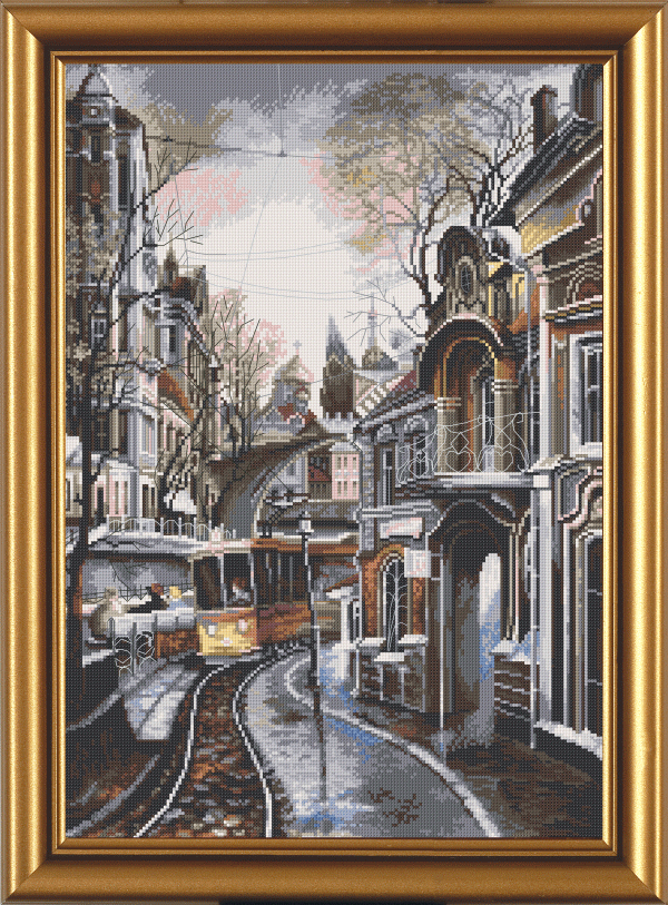 Вышивка ночной трамвай 4