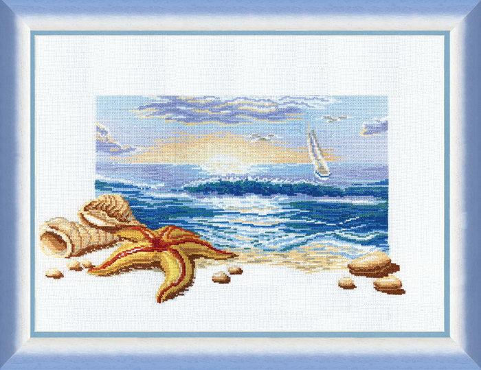 Вышивание с морским пейзажем