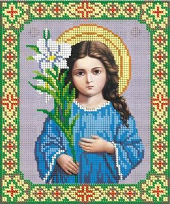 Купить Схема, частичная вышивка бисером, габардин, икона Божией Матери.  Поиск бисера Preciosa.