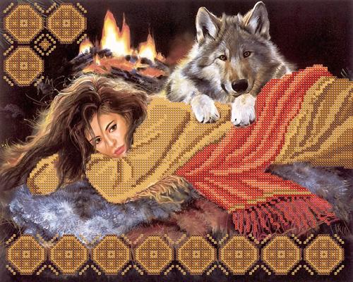 У костра вышивка девушка и волк.RKP-024. Производитель