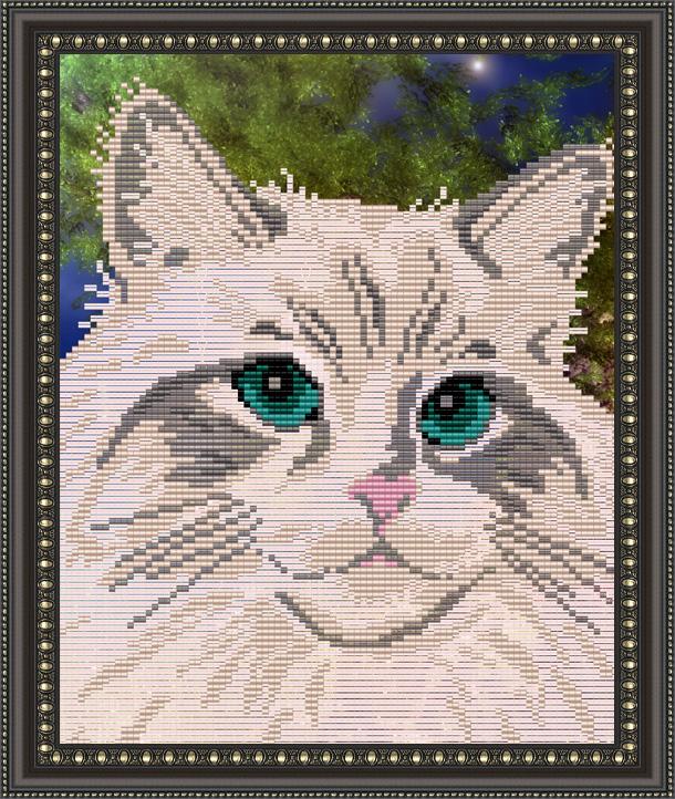 Белый кот вышивка бисером 53