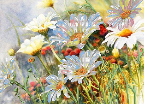 Вышивка рисунок полевые цветы