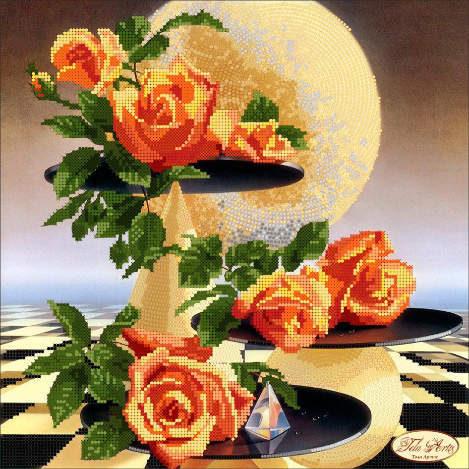схема вышивки сиреневые розы